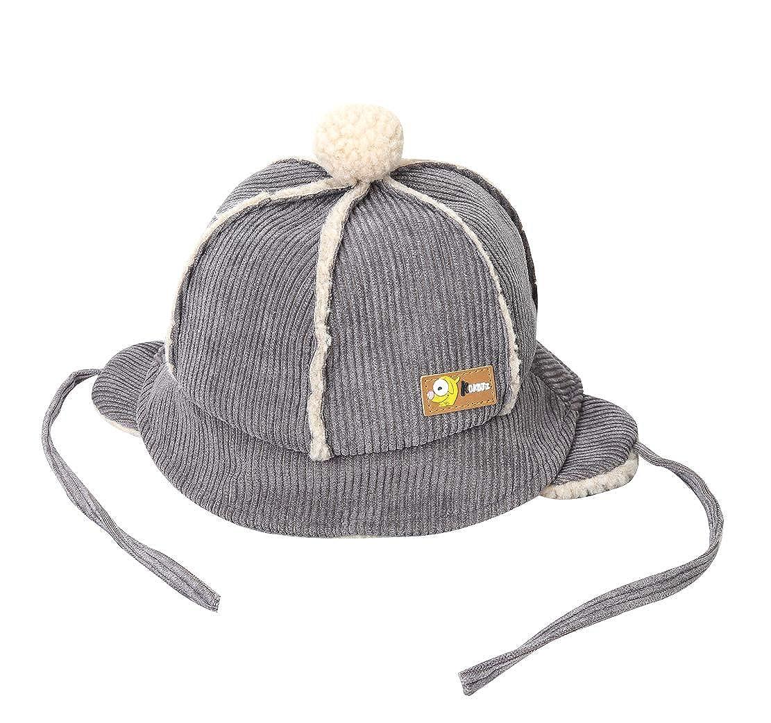 ACVIP Little Girls Corduroy String Closure Warm Lining Bomber Hat