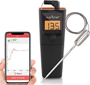 NutriChef PWIRBBQ90 Bluetooth Meat Thermometer Smart Wireless Kitchen Remote Instant Read BBQ Temperature Probe for Grill, Normal