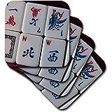 3dRose cst_12772_1 Luv Mah Jongg Soft Coasters, Set of 4