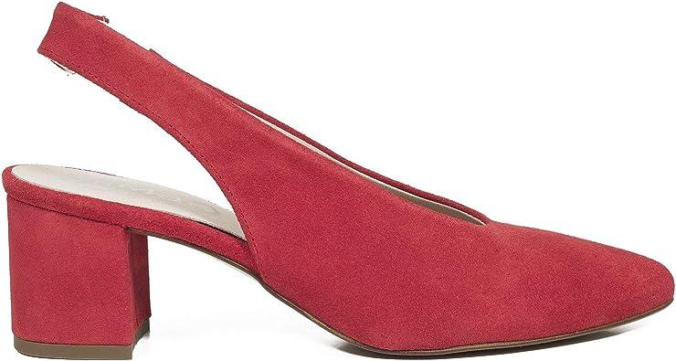 SALÓN Zapatos de tacón Destalonado Rojos: Amazon.es: Zapatos y complementos