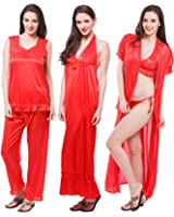 Fasense Satin Nightwear 6 Pcs Set of Nighty Robe Top Pajama Bra & Thong DP114