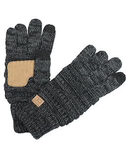 BYSUMMER C. C. Smart Touch Tip Cold Weather Best Winter Gloves (Bk/Charcoal)