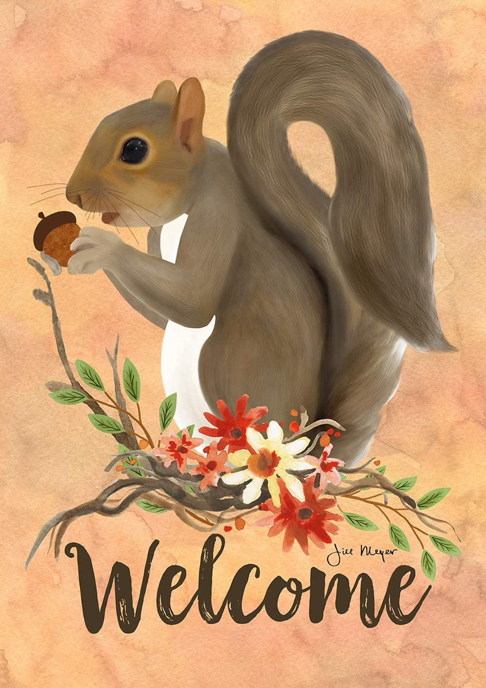 "Toland Home Garden 1112296 Squirrel Welcome 12.5 x 18 Inch Decorative, (12.5"" x 18""), Double Sided Garden Flag"