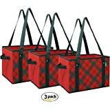Earthwise Reusable Grocery Bags - Box Deluxe Collapsible Foldable w/Reinforced Bottom Shoulder Straps and Side Handles Plaid Design (Set of 3)