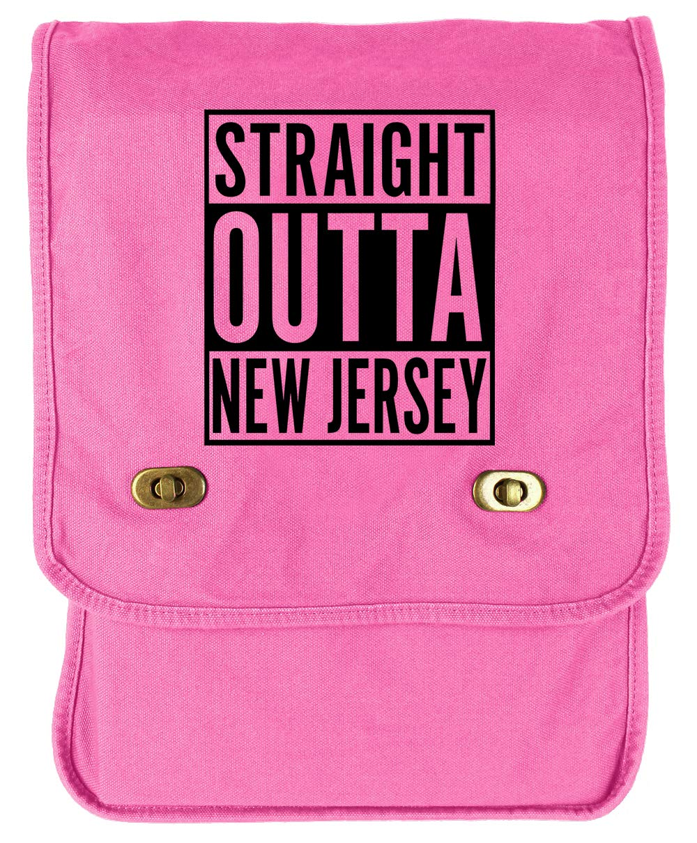 Tenacitee Straight Outta New Jersey Navy Brushed Canvas Messenger Bag