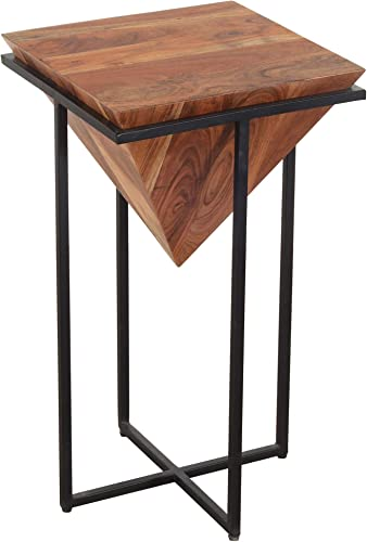 Tup The Urban Port 26 Inch Pyramid Shape Wooden Side Table with Cross Metal Base, Brown and Black