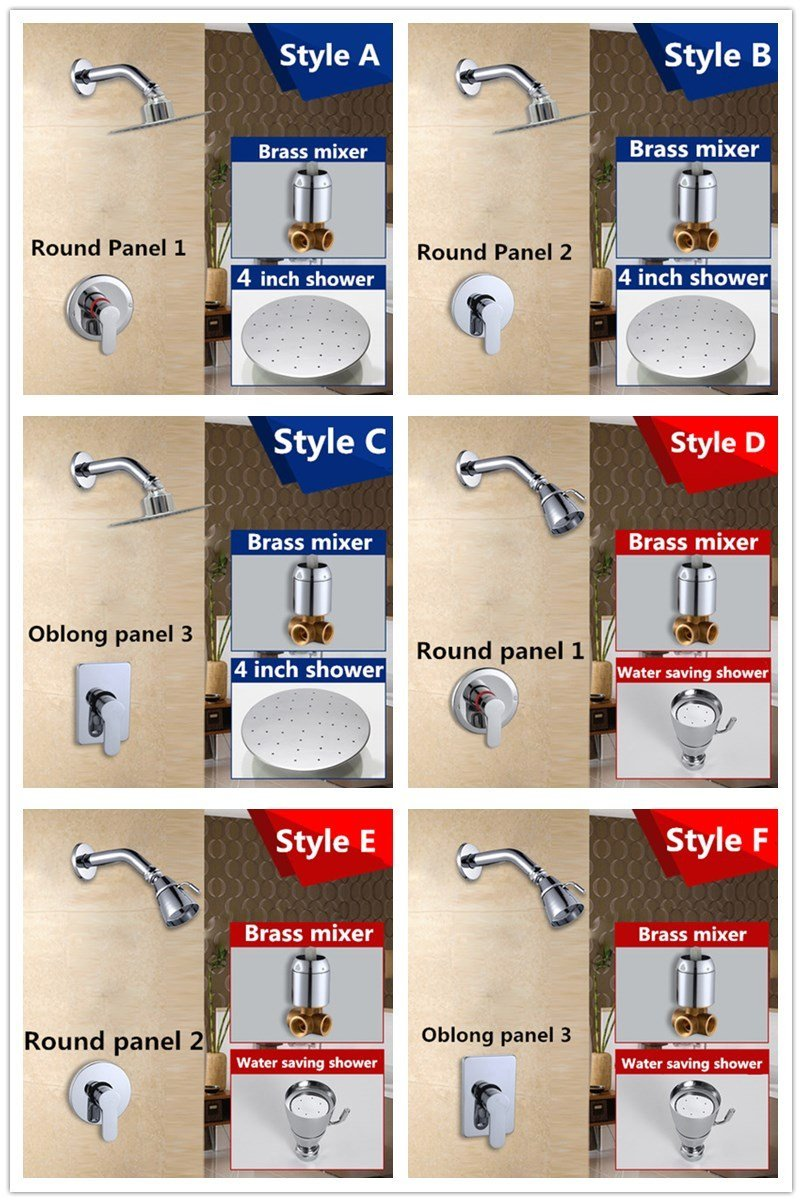 Kitchen faucet Bathroom faucet Luxury bathroom showers in wall 4 inch stainless steel shower head set brass chrome rain shower set faucet,Green