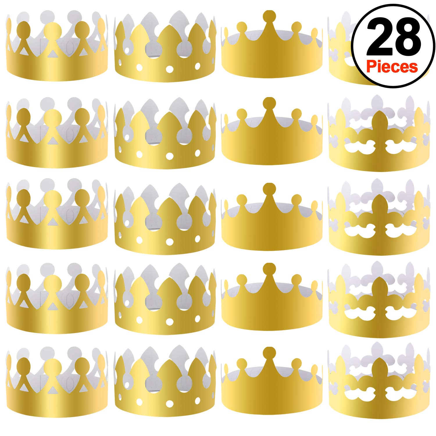 SIQUK 28 Pieces Gold Paper Crowns Party King Crown Paper Hats for Party and Celebration by SIQUK
