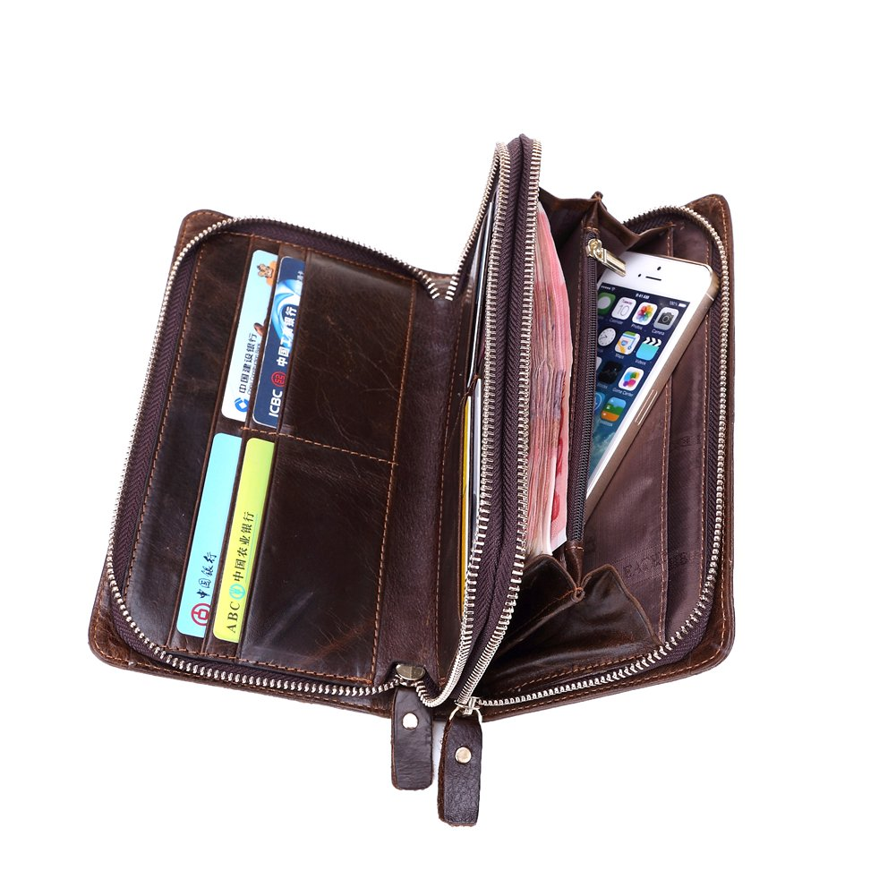 Genda 2Archer Mens Leather Double Zippered Clutch Card Holder Long Business Wallet