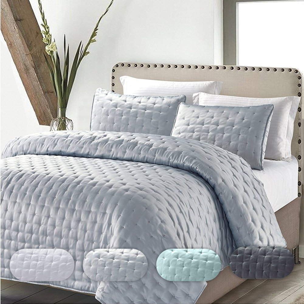 California Design Den Quilt/Coverlet Set Best Quality Solid Ruffled Luxury Hotel Style Bedspreads All Season Lightweight Bedding, Full/Queen Size, Silver, 3 Piece