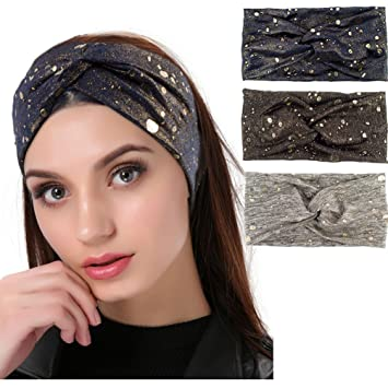19831ba13937 Amazon.com  3 Pack Women s Headbands Gold Metallic Glitter   Splash ...