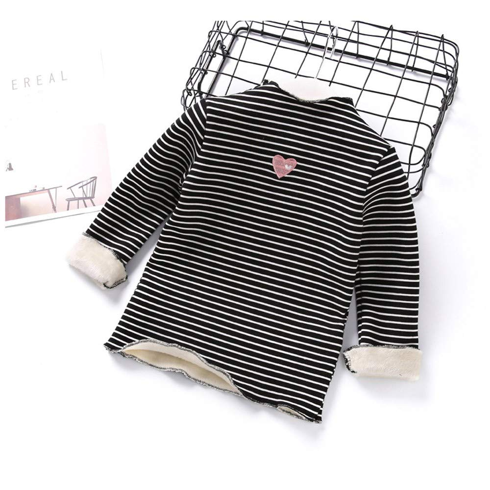 Jchen TM Infant Kids Little Girl Long Sleeve Stripe Heart Ruched Thick Warm Backing Shirt Tops for 1-5 Y