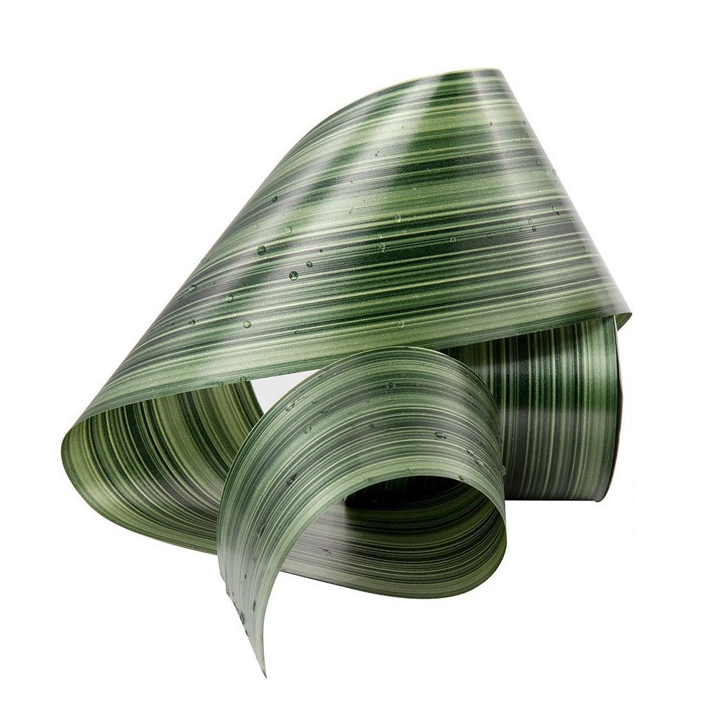 Green Aspidistra Ti Leaf Pattern Poly Satin Waterproof Ribbon 4 (#100) Floral Craft Decoration, 50 Yard Roll (150 FT Spool) Bulk Owncons 4336858064