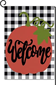 Dazonge Welcome Halloween Garden Flag | Small Fall Yard Flag 12.5''x18'' | Double Sided Buffalo Plaid Farmhouse Flag | Rustic Fall Decor for Home | Fall Yard Decorations