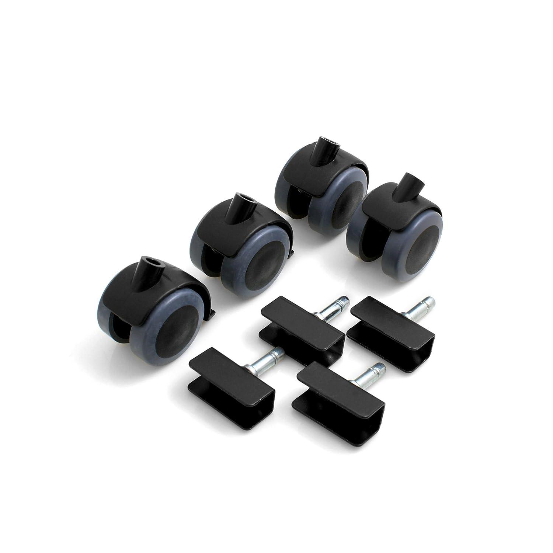 Design61 Universal M/öbelrollen mit U-Aufnahme 19mm Gummirollen Lenkrollen Laufrollen Bodenschutz Rollen mit Feststeller Plattenschuhe mit Stift 4 St/ück