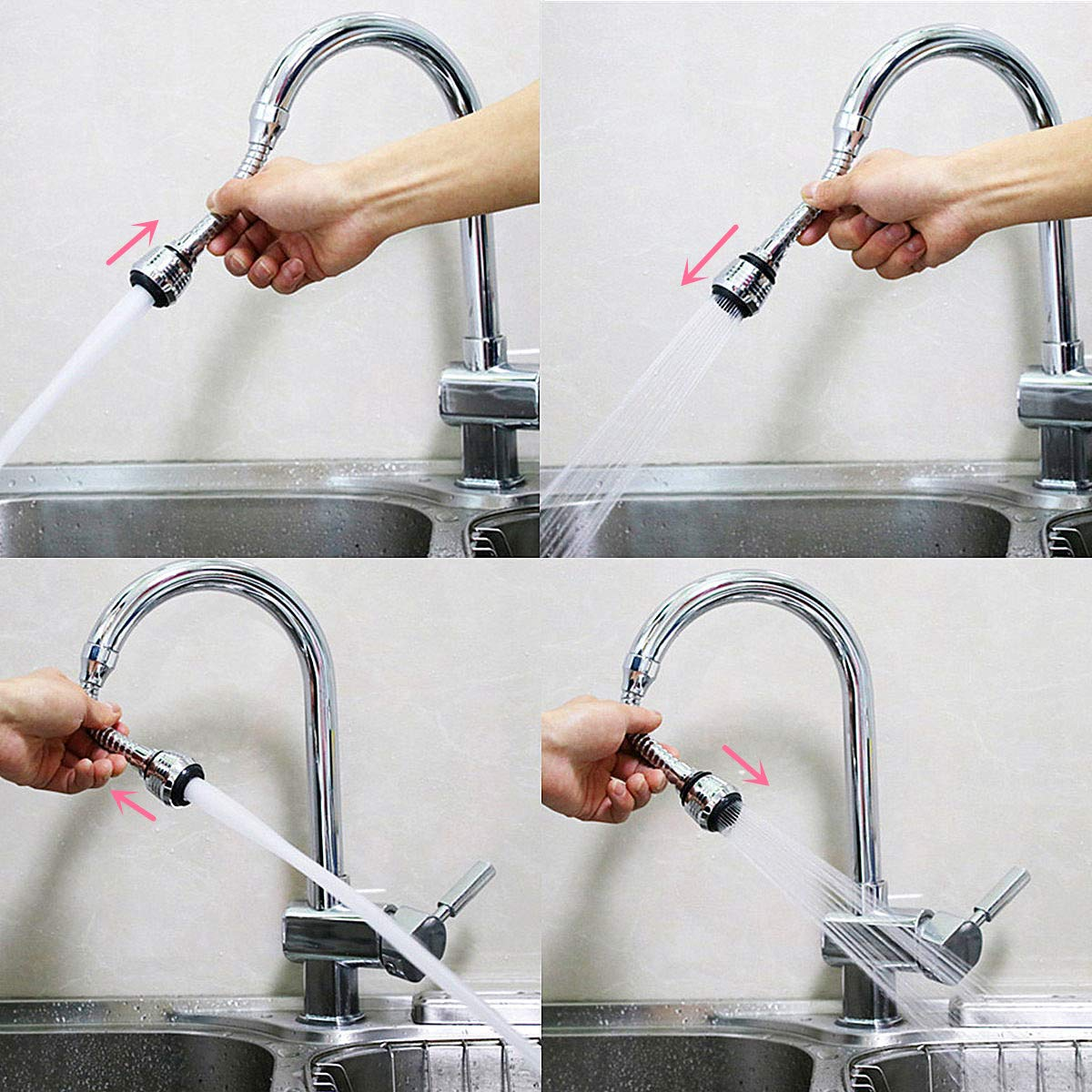 Flexible Faucet Sprayer 360 ° Kitchen Sink Aerator ABS Polished Chrome for Cold Hot Water (Silver)