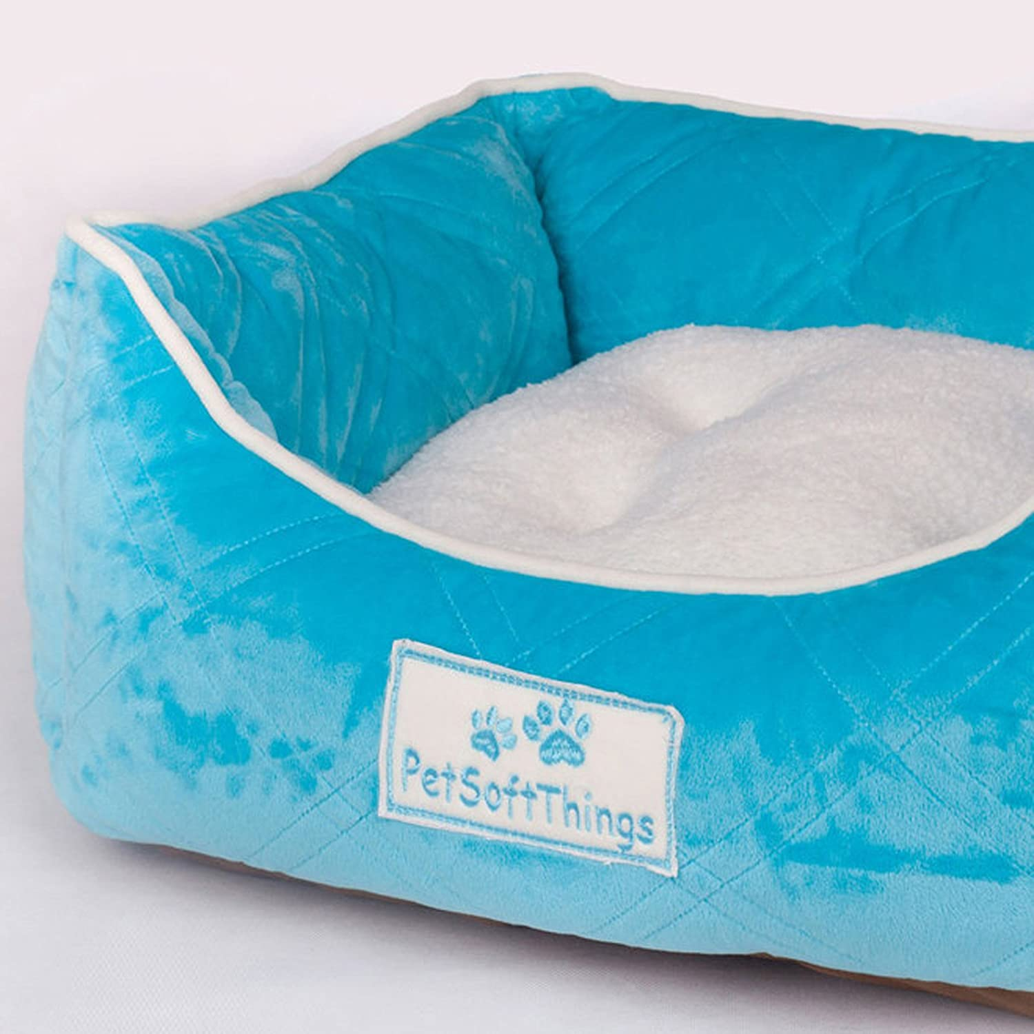 Scube bluee Pet Soft Things Super Soft Microplush Quilted Pet Bed with Removable Pillow, 19  x 24  x 8 , Scuba bluee