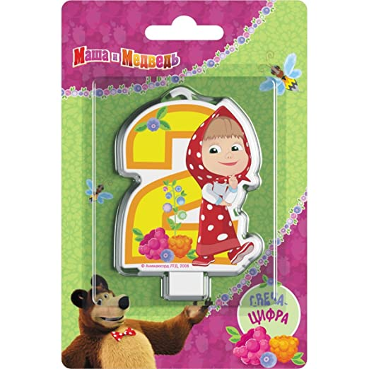 Сandle on a Cake Topper 2 years Birthday Masha and the Bear Must Have Accessories for the Party supplies and Birthday Masha y el Oso para niños