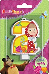 Сandle on a Cake Topper 2 years Birthday Masha and the Bear Must Have Accessories for