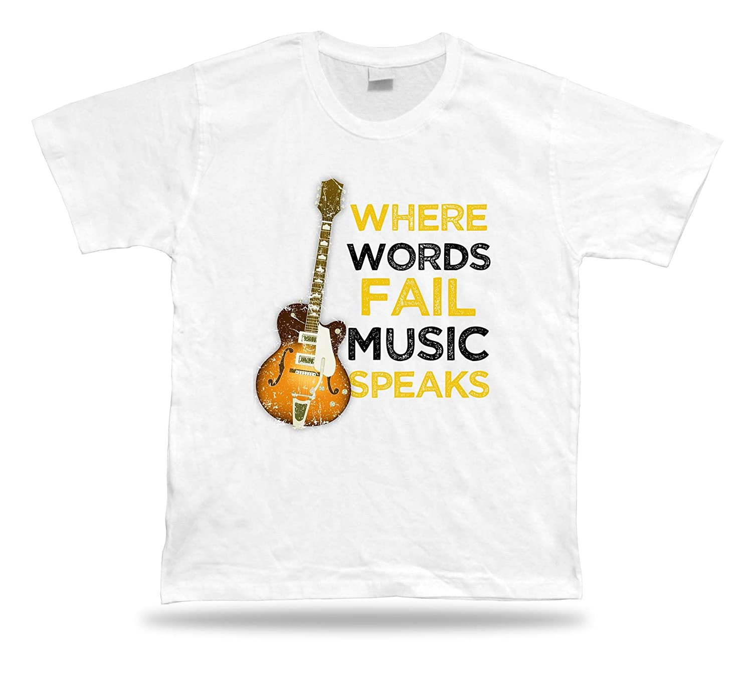 Where words Fail music speaks classic unisex apparel tee T shirt spiritual quote