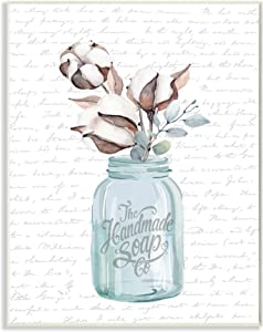 Stupell Industries Handmade Soap Jar Cotton Flower Bathroom Word, Design by Artist Lettered and Lined Wall Art, 10 x 15, Wood Plaque