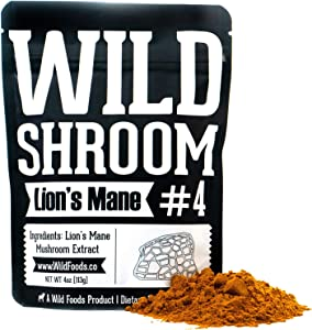 Lion's Mane Mushroom Extract 10:1 Superfood Powder by Wild Foods | Fruiting Bodies Only | Adaptogenic Nootropic Herb for Focus, Memory and Health (4 Ounce)