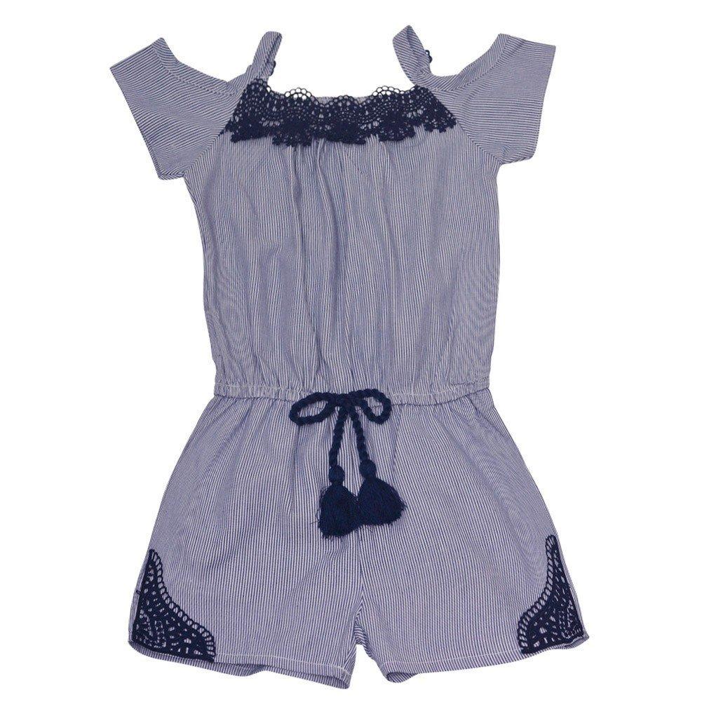 dollhouse Big Girls Navy Lace Trim Off-Shoulder Strap Trendy Romper 7-8