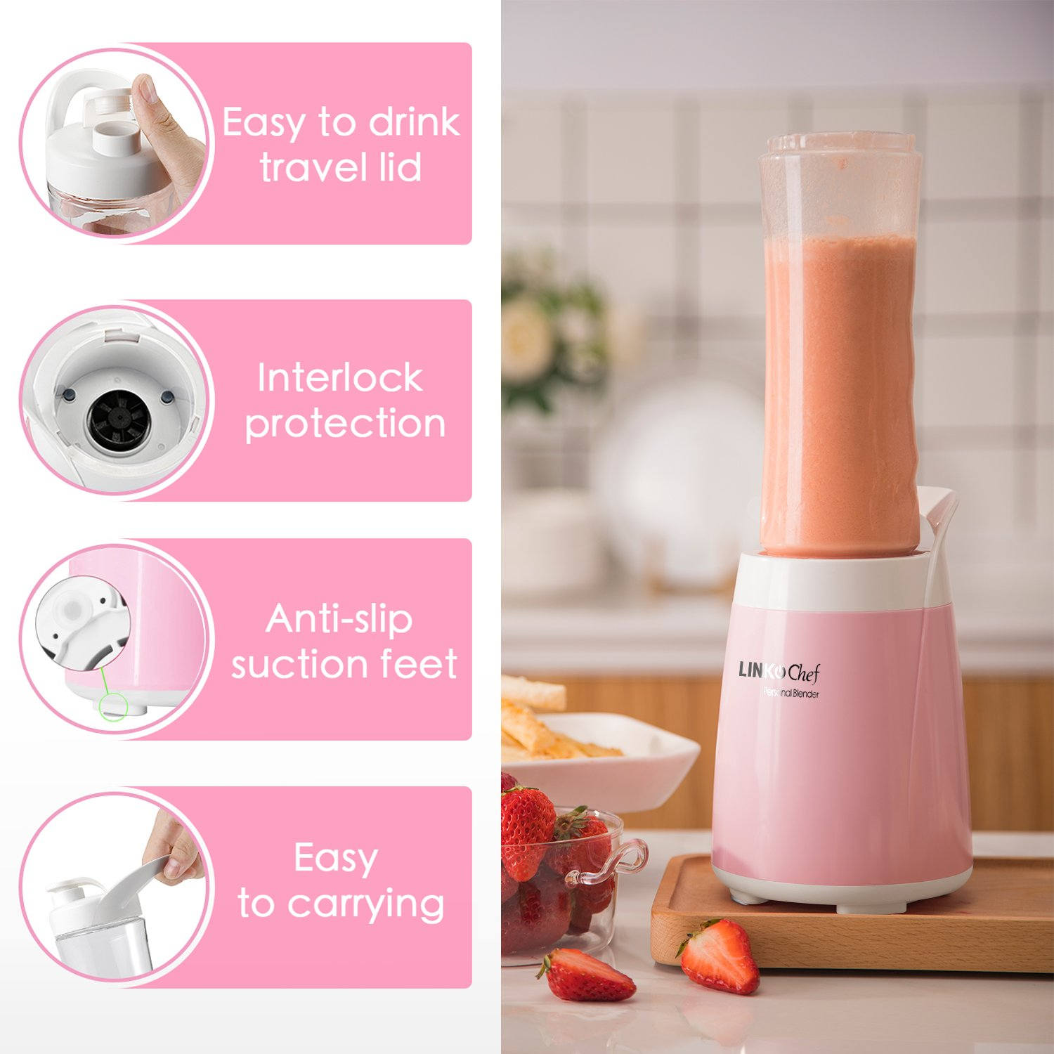 Smoothie Blender LINKChef Personal Blender 2 Tritan BPA-Free Travel Sport Bottles, Small Blender Smoothies and Shakes, Removable BPA- Free& FDA, Pink/ White (PB-6525)- 3 Years Warranty (Pink and white) by LINKChef (Image #2)