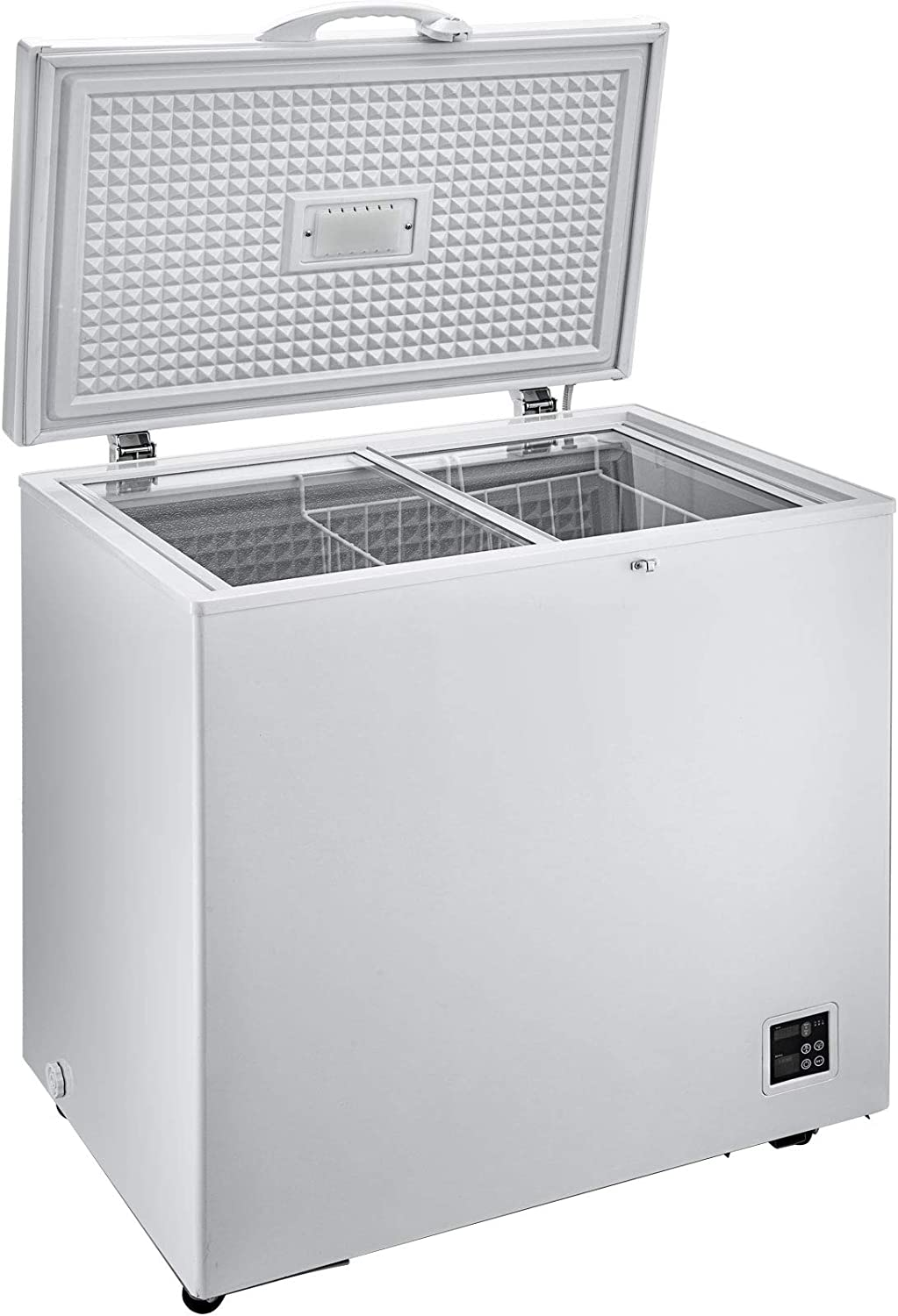 VBENLEM Chest Freezer,167 Quart Commercial RV Deep Freezer,5.6 cu.ft Compact Vehicle Electric Cooler Fridge,12V//24V DC With Lock for Car Home Camping Truck Party,-0.4℉-32℉ Suit for Solar Power