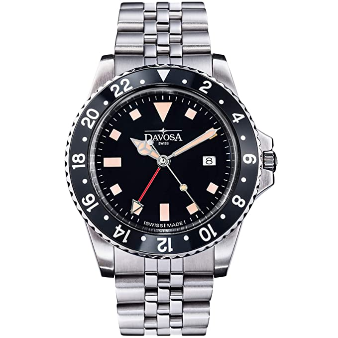 Amazon.com: Davosa Swiss Made Quartz Quality Watch - Luxury GMT Dual Time Analog Dial Vintage Fashion Watch with Stainless Steel Wrist Band (16350050): ...