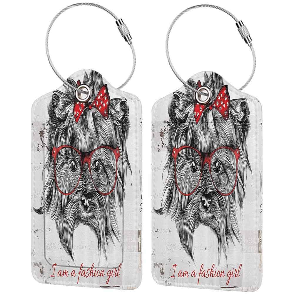 Durable luggage tag Animal I am a Fashion Girl Quote Sketch Cute Hipster Dog with Sunglasses and Red Bow Unisex Red Black White W2.7 x L4.6