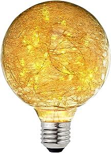 Judy Lighting - G95 LED Edison Bulb Decorative Starry String Light Bulb E26 Glass Fairy Light Bulb(Fireworks), Holiday Decoration Warm White