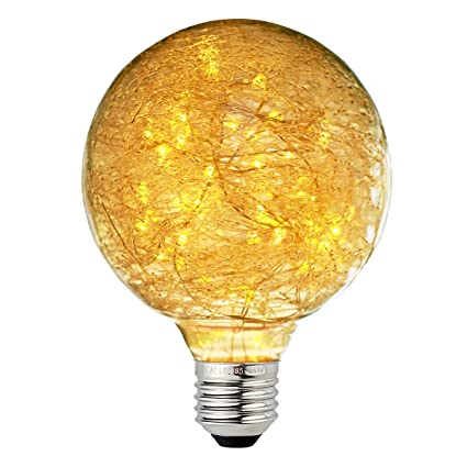 Judy Lighting - G95 LED Edison Bulb Decorative Starry String Light Bulb E26 Glass Fairy Light Bulb(Fireworks), Holiday Decoration Warm White - - Amazon.com