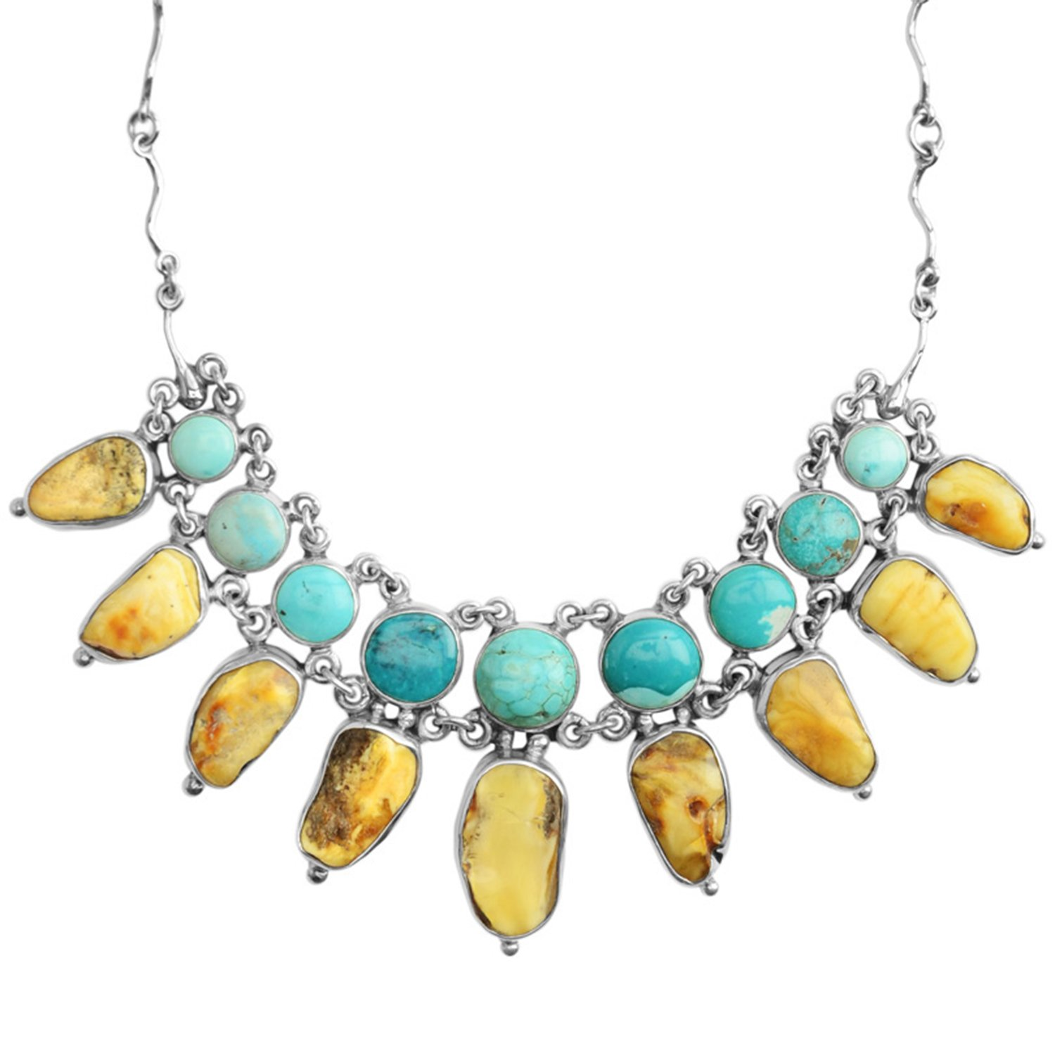 Baltic Butterscotch Amber Necklace with Turquoise and Sterling Silver - Genuine Amber & Turquoise