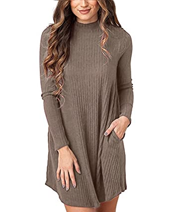 40217cdad51 StyleDome Women s Pullover Sweater Knit Pocket Casual Loose Long Sleeve  Dress (S