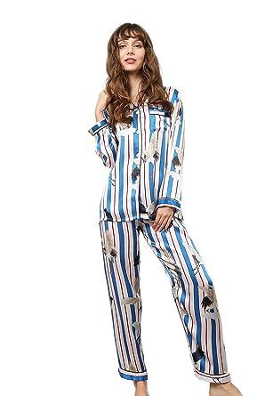 199e73aac157e3 Tulpen Damen 100% Maulbeerseide Schlafanzug Set Seide Pyjamas mit Mustern:  Amazon.de: Bekleidung