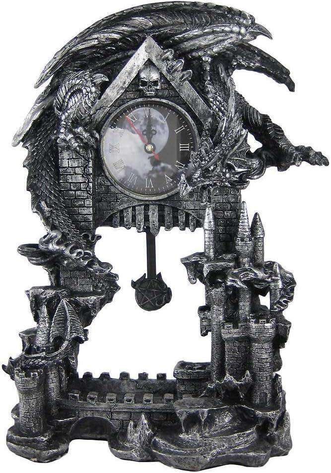 Things2Die4 Evil Dragon Pentagram Pendulum Mantel Clock