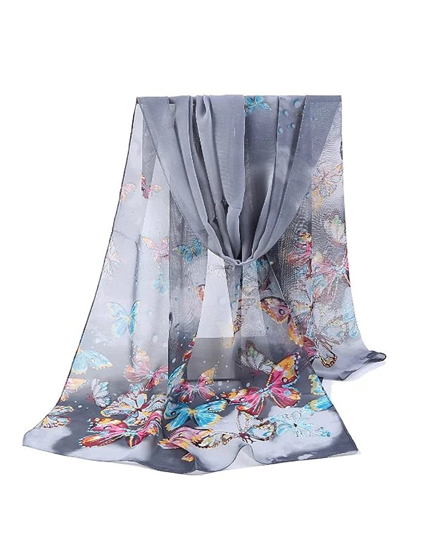Bestgift Womens Colorful Butterfly Pattern Chiffon Soft Scarf Purple One Size
