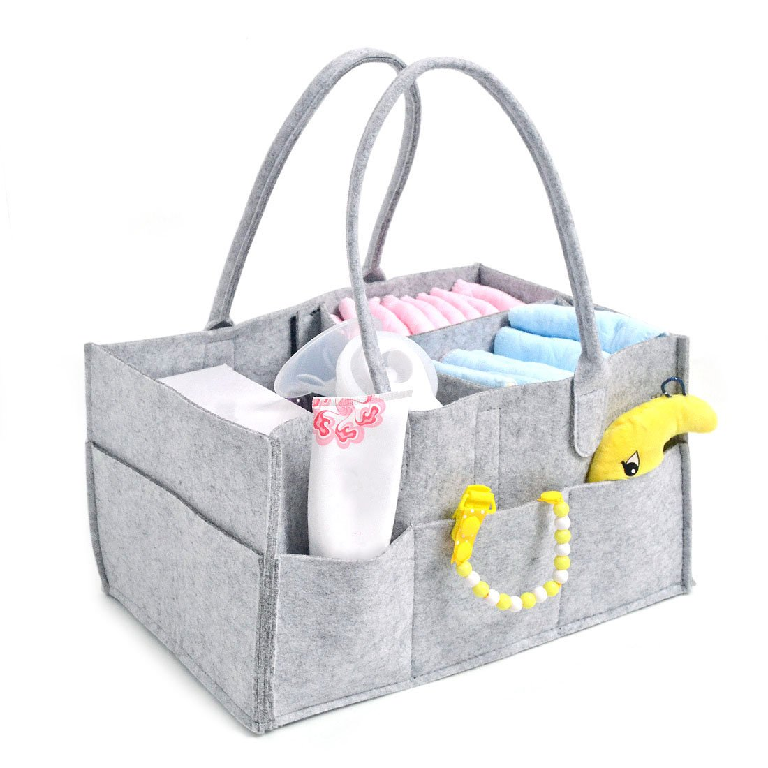 Saien Baby Diaper Caddy Organizer Portable Nursery Storage Tote for Diapers Wipes Gray (Gray)