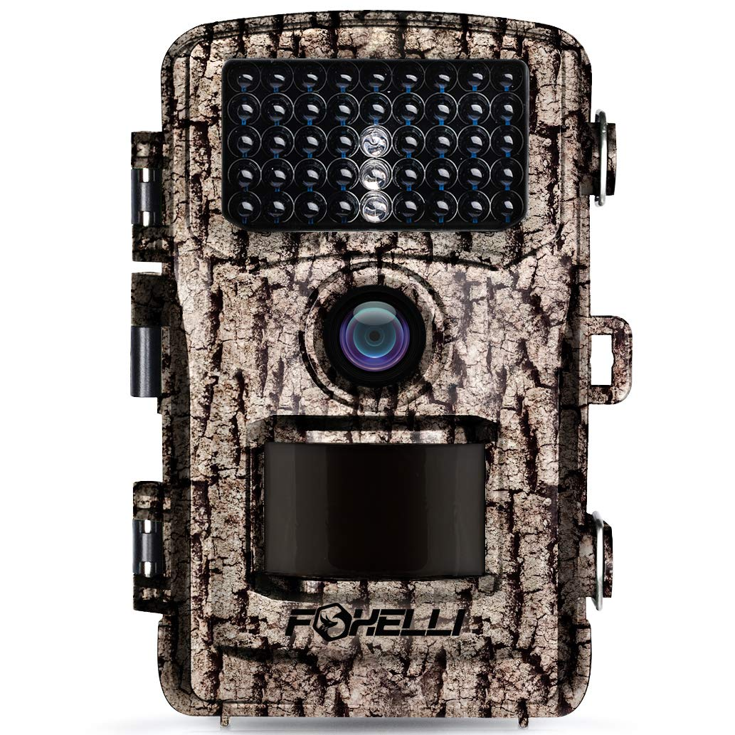 Foxelli Trail Camera - 14MP 1080P Full HD Wildlife Scouting Hunting Camera with Motion Activated Night Vision, 120° Wide Angle Lens, 42 IR LEDs and 2.4'' LCD Screen, IP66 Waterproof Game Camera by Foxelli