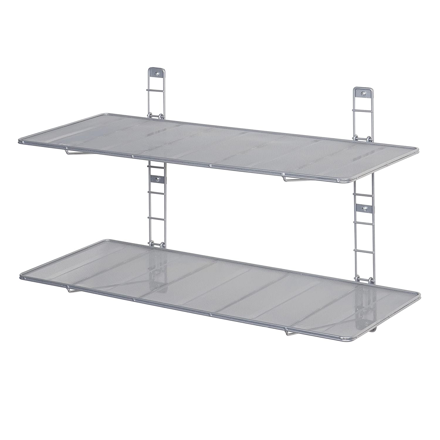 Seville Classics 2-Tier Iron Mesh Adjustable Floating Wall Shelves, 36