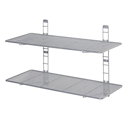 Seville Classics 2 Tier Iron Mesh Adjustable Floating Wall Shelves,  36u0026quot; X 14u0026quot
