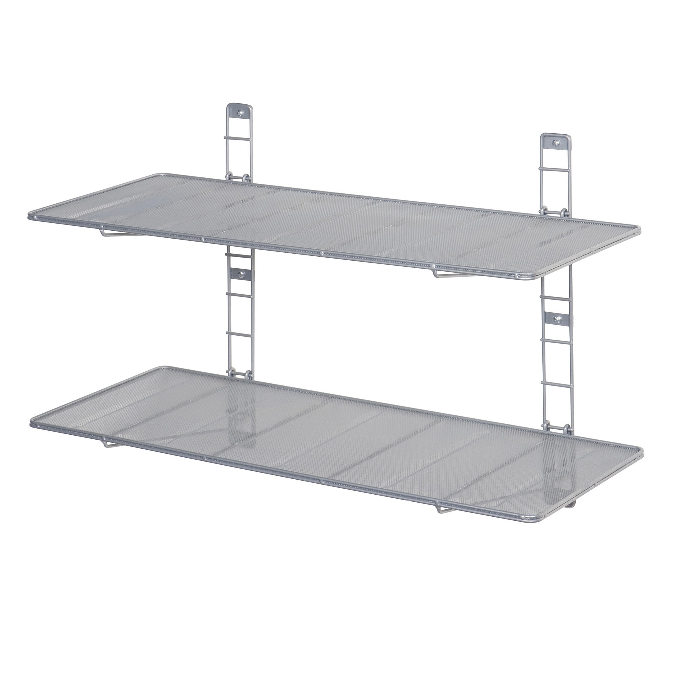 Seville Classics 2-Tier Iron Mesh Adjustable Floating Wall Shelves, 36'' x 14'', Satin Pewter