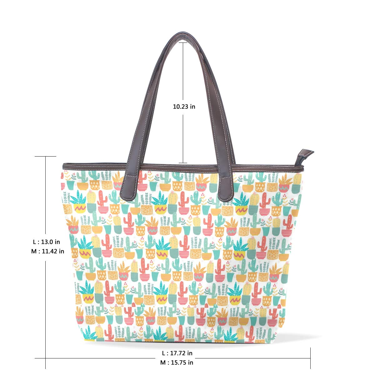 Womens Leather Cute Pastel Cactus Handbag Satchel Tote Bag Tote Purse