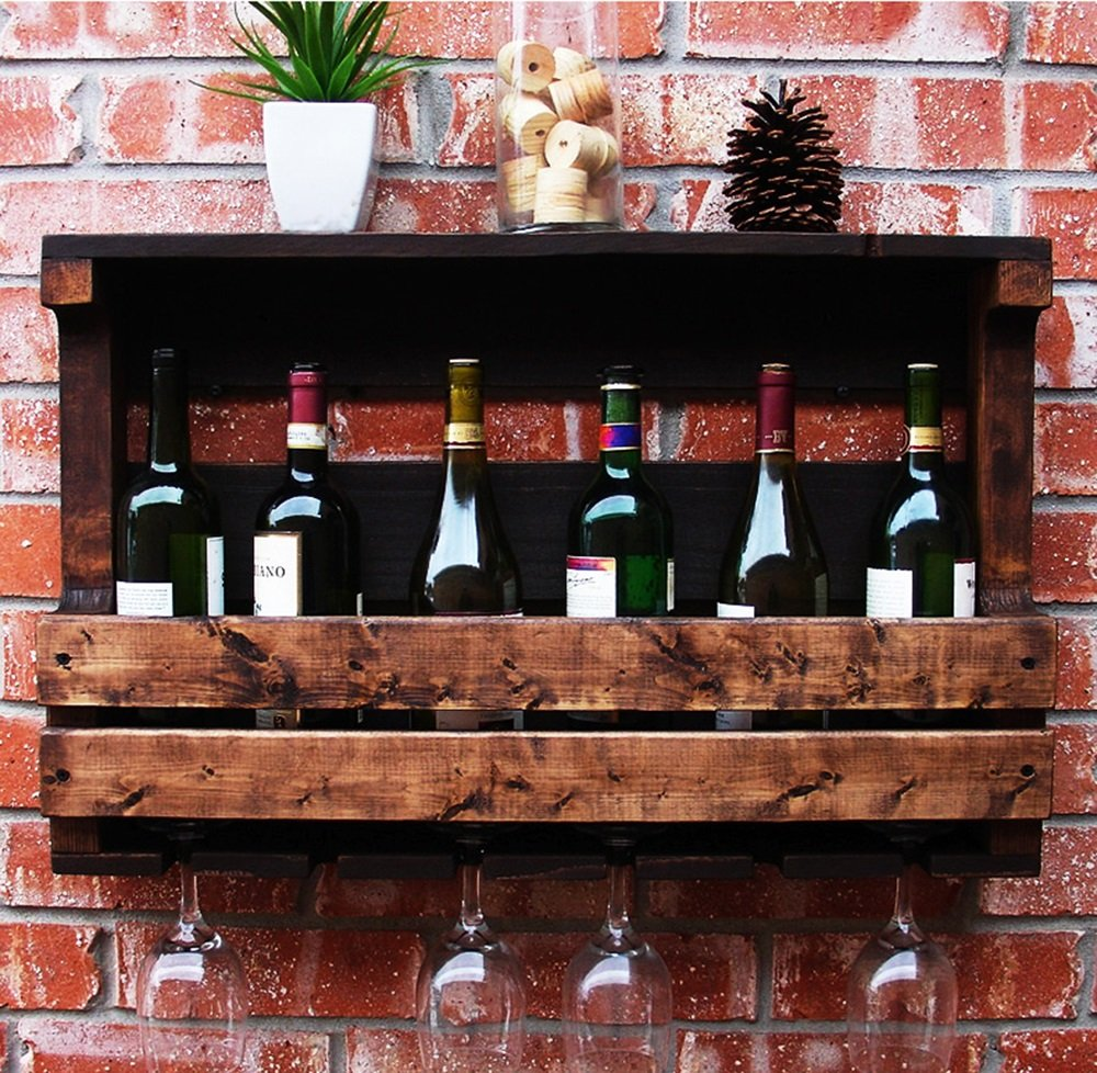 501342cm American wine rack, Wall-Mounted Rack, Hanging Solid Wood wine rack, wine rack, Restaurant stemware Rack (Size   50  13  42cm)