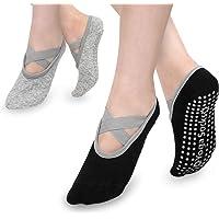 MoKo Calcetines Yoga para Mujer, (2 PZS) Calcetines Antideslizantes Pilates Barre para Baile con Empuñaduras…