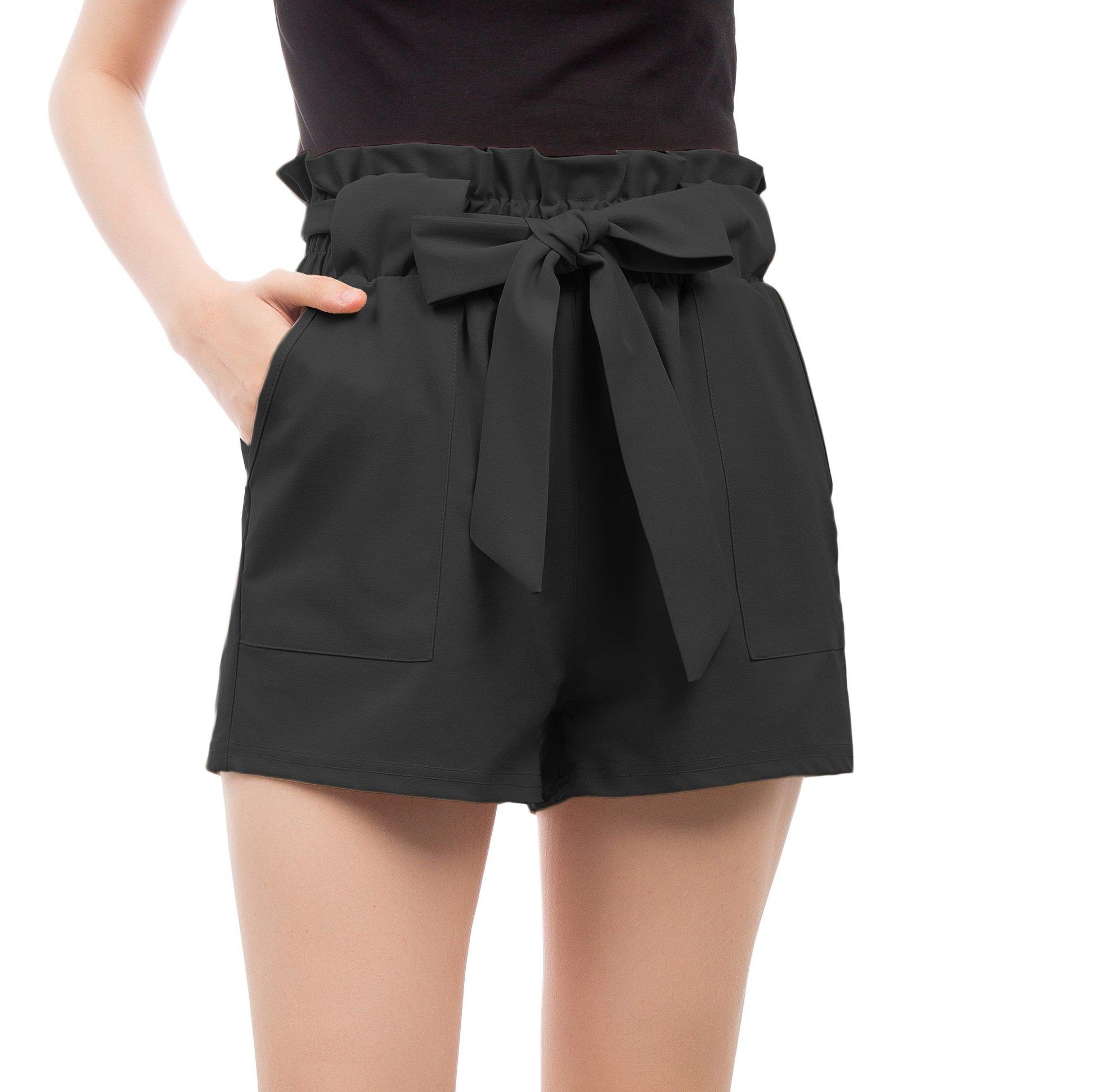 GRACE KARIN Women's High Waist Casual Frill Bowknot Shorts L Black-2