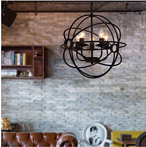 5 Lights Chandelier Rustic Metal Orb Globe Hanging Lamp Spherical Metal Pendant Light Vintage Round Ball Cage Ceiling Fixture Light