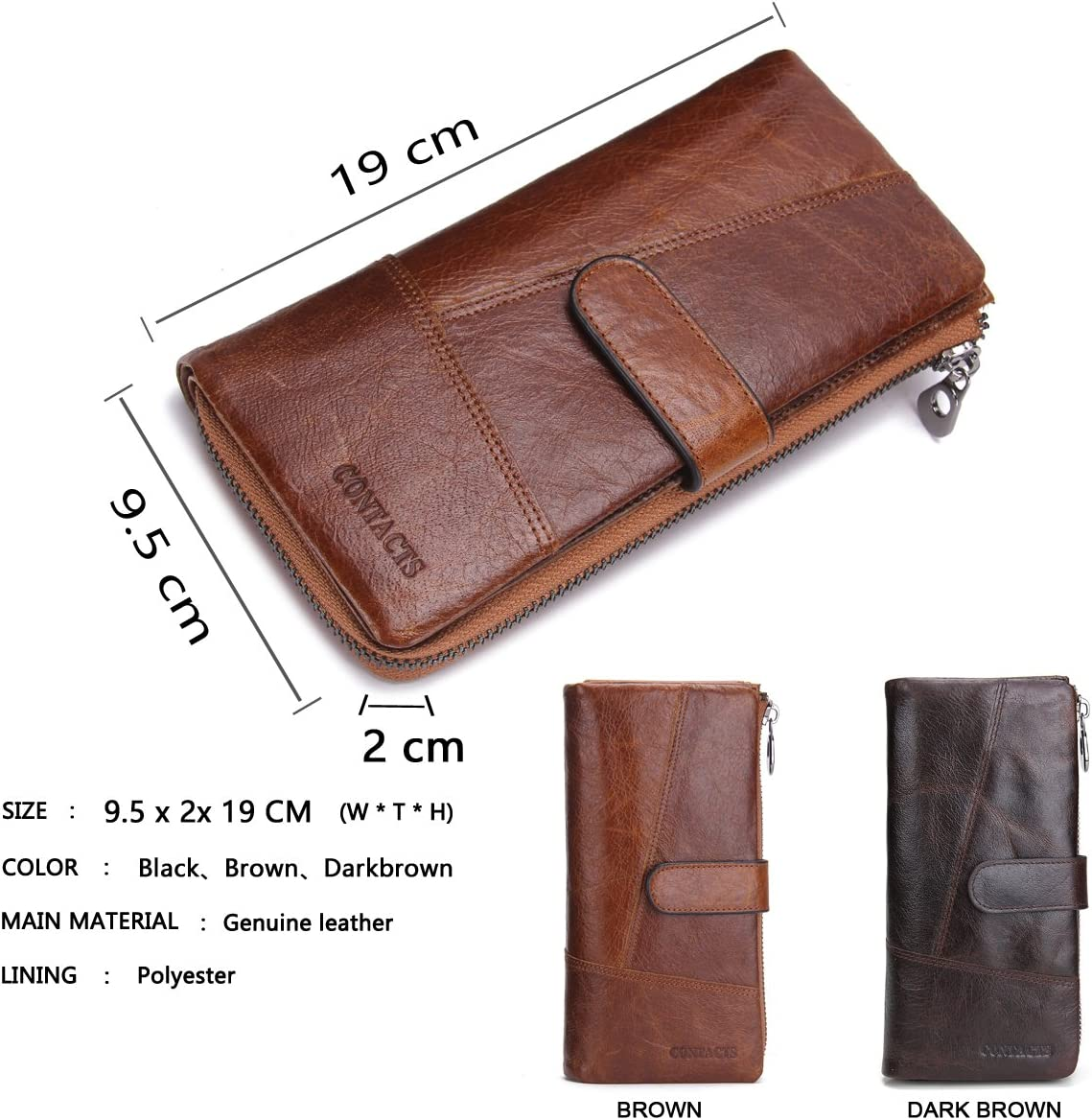 Contacts Mens Genuine Leather Bifold Long Wallet Organizer Checkbook Card Holder