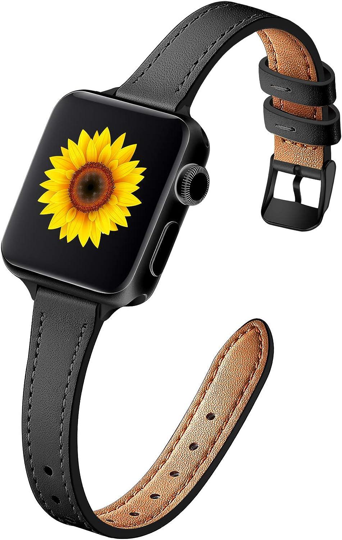 Muranne Leather Band Compatible with Apple Watch SE 40mm 38mm, Slim Thin Dressy Elegant Genuine Leather Strap Compatible with iWatch Series 6 5 4 3 2 1 SE for Women Ladies Girls, Black/Black